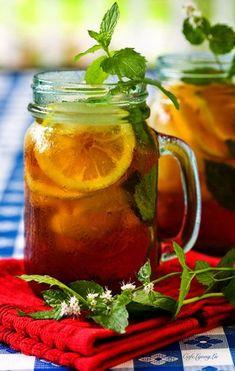 Rooibos Iced Tea Cooler ~ with orange, lemon, mint, & honey