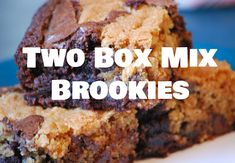 The Box Mix Baker: Brookies (Chocolate Chip Cookie Brownies) Boxed Brownie Recipes, Brownie Desserts, Kid Desserts, Delicious Desserts, Cookie Recipes, Summer Desserts, Yummy Food, Chocolate Chip Cookie Brownies, Cookie Brownie Bars