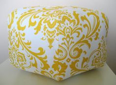 "18"" Ottoman Pouf Floor Pillow Yellow White Damask. Another idea for J's grey nursery to go w/ rocker."