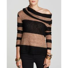 Style this boldly-striped Free People Pullover off-shoulder for a subtly sultry, skin-baring twist on an off-duty essential. Baby alpaca/nylon. Hand wash. Impo…