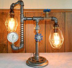 Steampunk Lamp, Industrial Pipe, Gears, Valves, Gauge - Vintage Styling - New  $139