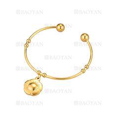 pulsera de dije flor dorado en acero inoxidable -SSBTG924357