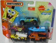 "SpongeBob Squarepants 5-pack Vehicles N9942 by Mattel. $13.50. Colorful Die-Cast Vehicles with some plastic parts. Recommended Ages 3+. 5 new Matchbox vehicles great for any Spongebob Squarepants fan!. Set includes: Spongebob ""Wild One"" Green Dune Buggy, ""Head Cases"" Orange motor boat, ""Bikini Bottom Soapsuds Service"" Tow Truck, Spongebob ""Airhead"" Pickup, and ""Spongebuck"" Jeep. Great gift for Matchbox collectors too!. SpongeBob Squarepants 5-pack Vehicles N9942. Each car..."