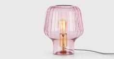Ewer, lampe de table, rose poudré et laiton polis