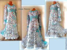 Купить Платье Воздушное - голубой, платье, Платье нарядное, платье вязаное, платье в пол