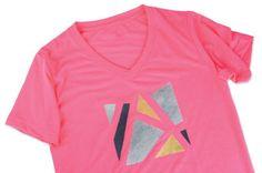 Metallic Geometric Shapes on Neon T-Shirt
