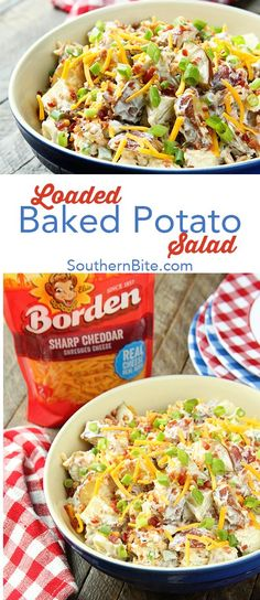 This Loaded Baked Potato Salad has all the flavor of the classic steakhouse side, but is perfect for your summer BBQs! @BordenCheese makes it easy and delicious!  #ad