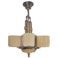Streamline Art Deco Antique Six Light Slip Shade Chandelier by Markel (ANT-395) For Sale | Antiques.com | Classifieds