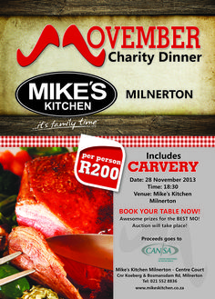 Mike's Kitchen Milnerton Movember Charity Dinner Movember, Charity, Beef, Dinner, Kitchen, Food, Meat, Dining, Cooking