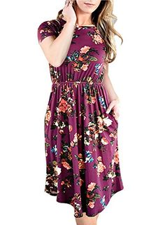 91c561f721a NICIAS-Women-Floral-Short-Sleeve-Tunic-Vintage-Midi-