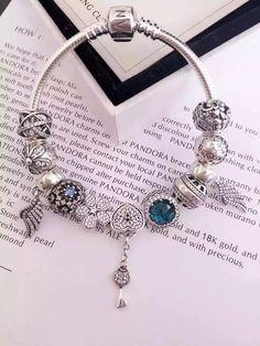 50% OFF!!! $279 Pandora Charm Bracelet Blue. Hot Sale!!! SKU: CB01856 - PANDORA Bracelet Ideas