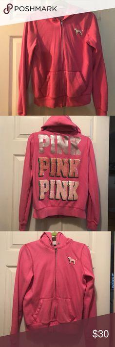 PINK sequin full zip hoodie PINK sequin full zip hoodie, very soft. My daughter is sensitive, neck tag was removed PINK Victoria's Secret Tops Sweatshirts & Hoodies