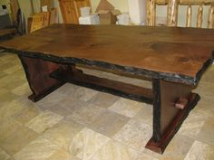 Walnut Slab Dining Table - rustic - dining tables - other metro - by Perry Creek Woodworking, Inc.