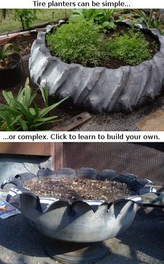 tire planters think these are awesome especially old with tire rim still attached Outdoor Projects, Garden Projects, Outdoor Decor, Outdoor Ideas, Outdoor Spaces, Tyres Recycle, Recycled Tires, Recycled Rubber, Reuse