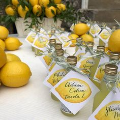 When in Capri (or anywhere in Italy honestly) you drink limoncello 🍋🍋🍋 Our escort cards with watercolor tags I painted and calligraphy… Italy Party, Italian Theme, Lemon Party, Amalfi Coast Wedding, Yellow Wedding, Bridal Shower Decorations, Italy Wedding, Bridal Shower Invitations, Dessert Table