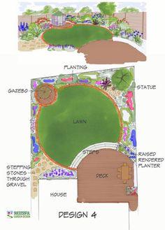 Deck Design Plan from www.successfulgar… Deck Design Plan von www. Landscape Plans, Garden Landscape Design, Small Garden Design, Deck Design Plans, Backyard Landscaping, Landscaping Ideas, Backyard Plan, Tropical Landscaping, Backyard Ideas