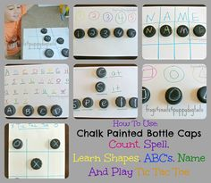 chalk painted bottel cap learning activities