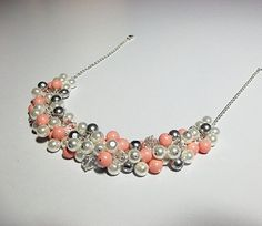 Pink Coral Gray Pearl and Crystal Cluster Necklace, Bridesmaid Wedding Mothers Day Mom Sister Grandmother Birthday Wife Jewelry Gift