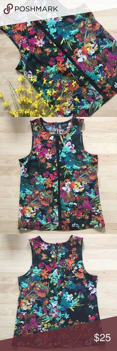 🌸 Bright floral tank top blouse mesh Cute dressy tank top; perfect for going out! The center is a thin strip of sheer mesh. You can wear a cami or bralette under, depending on the occasion 😊 NWOT! I love it, I just have never had a chance to wear it. Bundle to save; reasonable offers welcome ✨ 37\