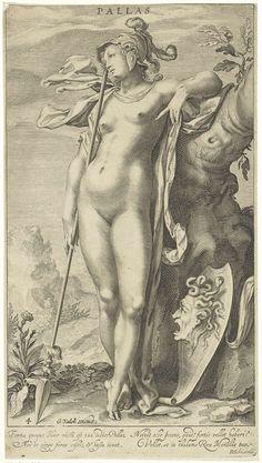 Minerva bij een boom, Willem Isaacsz. van Swanenburg, 1670 - 1726