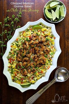 Chopped Mexican Quinoa Salad with Chili Lime Shrimp - Super delicious, super healthy and bursting with fresh, south of the border flavor, this entree salad is sure to please! Skip the shrimp and you have a perfect side for parties, picnics and potlucks!