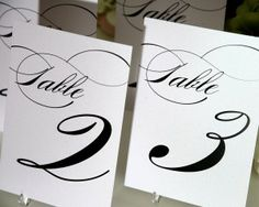 Table Numbers, Marriage Design 25/$44