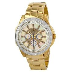 """Just Bling Men's JB-6212-F """"Excalibur Gold"""" Stainless Steel Multifunction Diamond Watch   by Just Bling"""