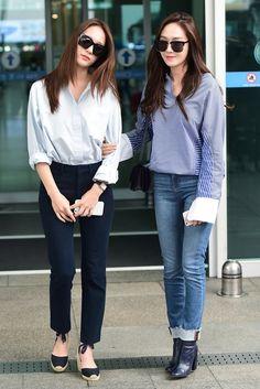 awesome Snsd Jessica Jung f(x) Krystal Jung airport fashion style. Korean Fashion Minimal, Korean Fashion Winter, Winter Fashion Casual, Korean Fashion Trends, Korean Street Fashion, Snsd Airport Fashion, Snsd Fashion, Fashion Outfits, Fashion 101