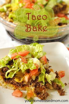 Taco Bake - switch to whole wheat flour and sub a few ingredients for the crust. Then this will work w/black bean taco filling for vegan dinner tonite.