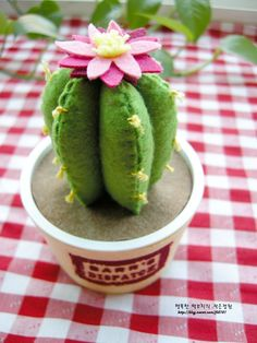 As flores dos cactos são abertas ao ^ ^ * - Criação de pólen cactus [Feltro Artesanato, Feltro Plant, bens interiores] :: Blog Naver