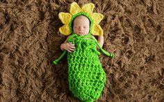 >> Click to Buy << Newborn Infant Baby Cute Handmade Knit Crochet Costume Outfits Photography Props Green Color Wool Sleeping Bag With Hats Caps #Affiliate