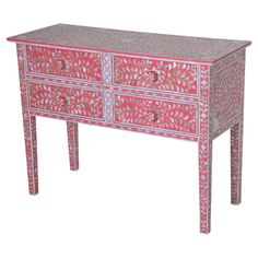Georgina Mother of Pearl Console Table in Coral Pink
