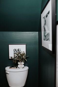 Dark Green Bathrooms, Bathroom Red, Small Bathroom, Rustic Bathrooms, Bathroom Colors, Powder Room Paint, Small Toilet Room, Green Powder, Black Powder Room
