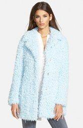 GUESS 'Teddy Bear' Notch Collar Faux Fur Coat