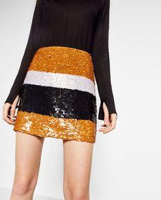 Bild 3 von MINIROCK MIT PAILLETTEN von Zara Zara United Kingdom, Sequin  Skirt, Mustard 171b73b139
