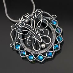 Fine Silver Pendant, Swarovski Crystal Necklace - Ruffles and Lace Design