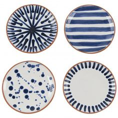 Lulu & Georgia Shibori Assorted Porto Appetizer Plates (Set of Painted Ceramic Plates, Ceramic Painting, Decorative Plates, Blue Pottery, Pottery Plates, Ceramic Cafe, Navy Home Decor, Pottery Painting Designs, Pottery Designs