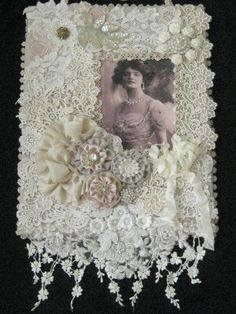 MIXED MEDIA FABRIC COLLAGE WALL HANGING, LACE & RIBBONWORK - ANTIQUE LOOK #Edwardian