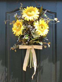 Sunflower Bouquet Front Door Decor Summer by twoinspireyou