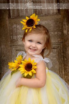 love the flowers on dress and in hair for flower girls (in wedding colors instead of yellow). Fall Wedding Colors, Yellow Wedding, Wedding Flowers, Wedding Dresses, Flower Girls, Flower Girl Dresses, Tutu Dresses, Sunflower Flower, Yellow Sunflower