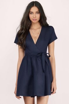 Elaine Wrap Linen Skater Dress at Tobi.com #shoptobi
