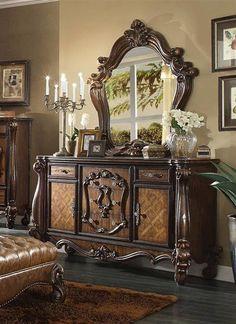 Versailles Traditional Cherry Oak Wood Glass Dresser
