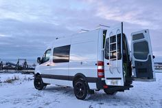 Great interior shots and ideas. Ford Van Conversion, Van Conversion Interior, Sprinter Van Conversion, Mercedes Sprinter Camper, Mercedes Suv, Benz Sprinter, Nissan Vans, 4x4 Camper Van, Bus Camper