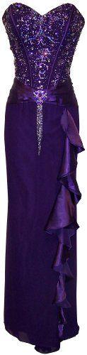 Beaded Strapless Satin Full Length Formal Gown With Side Ruffle Prom Dress Junior Plus Size, XS, Purple PacificPlex,http://www.amazon.com/dp/B004HMZDHW/ref=cm_sw_r_pi_dp_DwKsrb1KRBJRCNRF