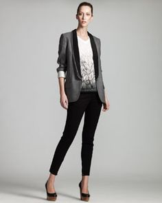 -3S6D Stella McCartney Triple-Lapel Tuxedo Jacket, Feather-Print Tee & Zip-Cuff Denim Leggings