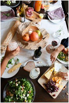 salad of pears - gorgonzola - walnut - arugula + cheese and wine