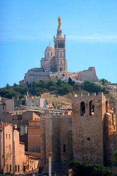 Travel Inspiration for France - Notre Dame de la Garde et l'abbaye de Saint Victor.