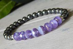 Hematite Gemstone Bracelet with Lilac Czech Beads