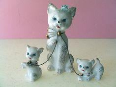 #Cutest Vintage 1960s #KITSCHY #Figurines White Porcelain Cat with Kittens & Bras,  View more on the LINK: 	http://www.zeppy.io/product/gb/3/217725027/