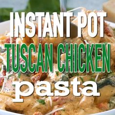 Chicken Tacos Discover Instant Pot Tuscan Chicken Pasta Instant Pot Tuscan Chicken Pasta is very easy to make creamy and delicious with perfect juicy chicken sun dried tomatoes and spinach. Instant Pot Pressure Cooker, Pressure Cooker Recipes, Pressure Cooking, Tuscan Chicken Pasta, Thai Chicken, Chicken Curry, Creamy Chicken, Tasty Videos, Instant Pot Dinner Recipes
